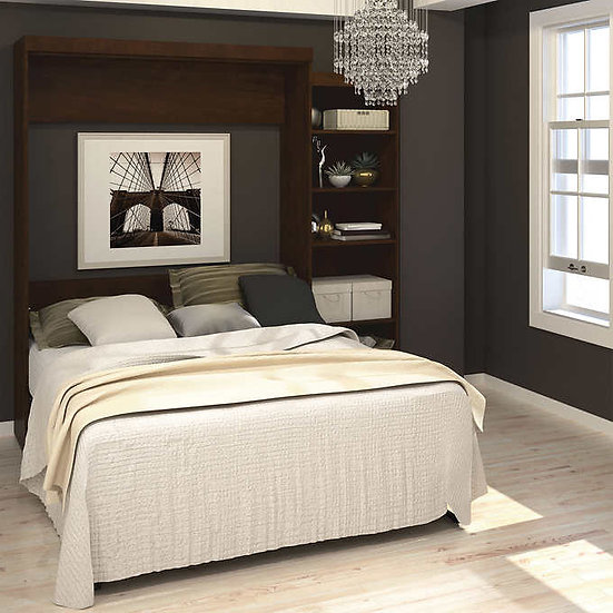 """Boutique Queen Wall Bed with One 25"""" Open Storage Unit in Brown"""