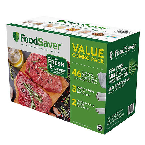 FoodSaver Vacuum Sealer Bag and Roll Combo Pack