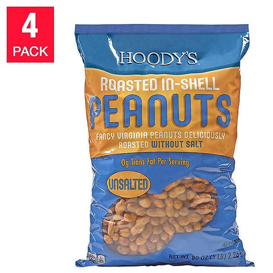 Hoody's Roasted Unsalted Peanuts 20 lbs, 4-pack