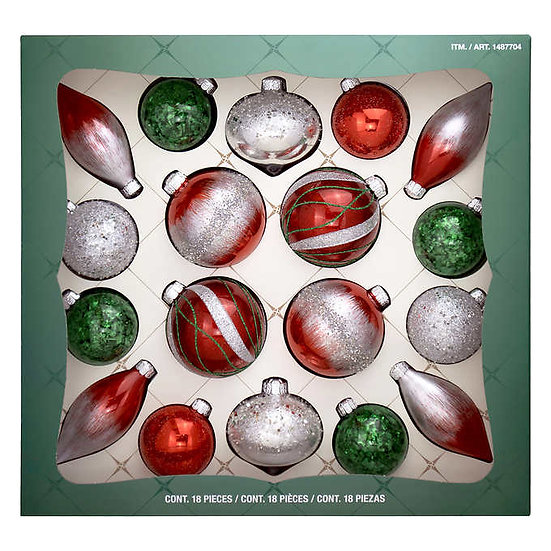 Hand Decorated Glass Ornaments - Red/Green, 18-piece, Christmas