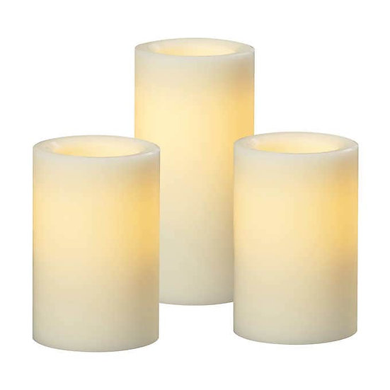All-weather Wax Flameless LED Candle Set, 3-piece