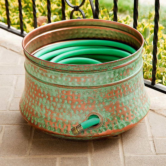 Steel Hose Pot with Copper Patina Finish