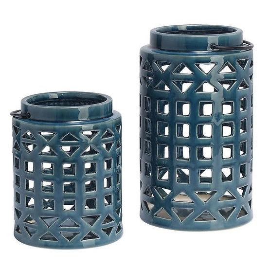 Elements 2-piece Ceramic Lantern Set