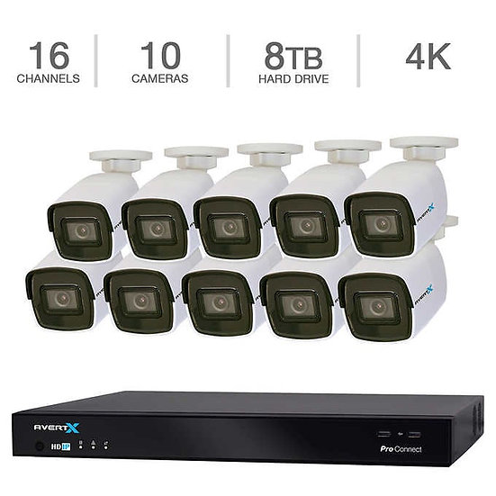 AvertX 16-Channel 4K NVR Smart Security System w/8TB HDD & 10 4K Bullet Cameras.