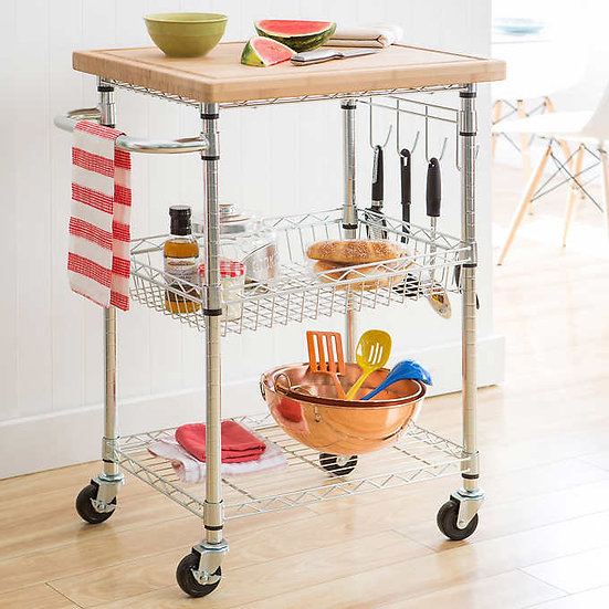 TRINITY EcoStorage Kitchen Cart with Bamboo Cutting Board