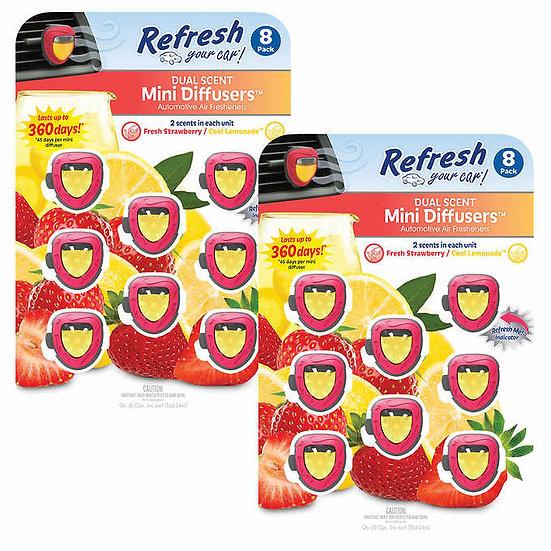 Refresh Your Car! Dual Scent Mini Diffusers Fresh Strawberry/Cool Lemonade 16pk.
