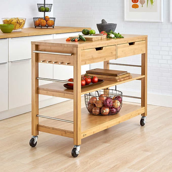 "TRINITY 48"" Bamboo Kitchen Cart with Drawers"