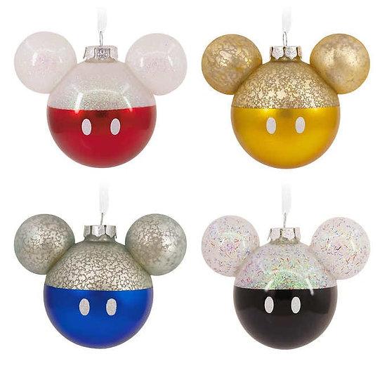 Hallmark Disney Mickey Mouse Icon Glass Ornaments, Set of 4