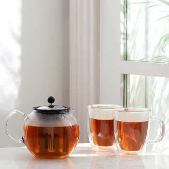 Bodum Assam Tea Press 34oz + 2 Bistro Double Wall Mugs 15oz
