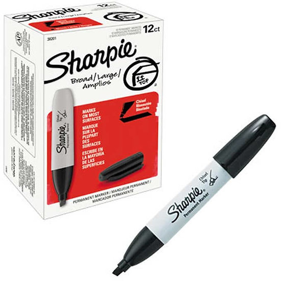 Sharpie Permanent Marker, Chisel Tip, Black, 12-count