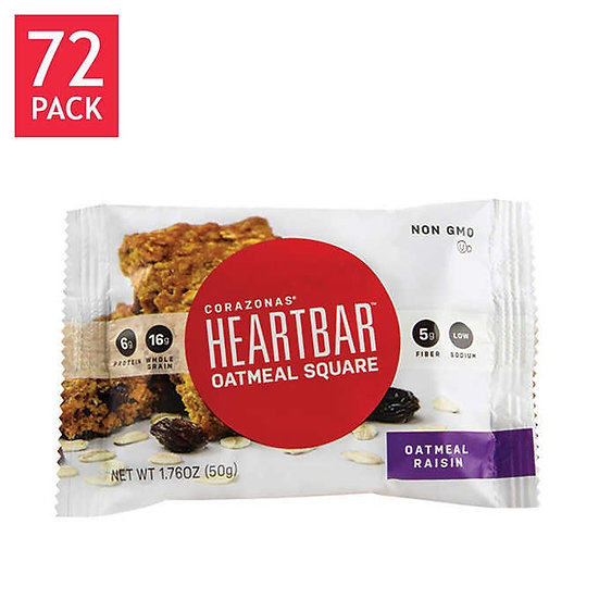 Corazonas HeartBar Oatmeal Raisin Squares 72-count