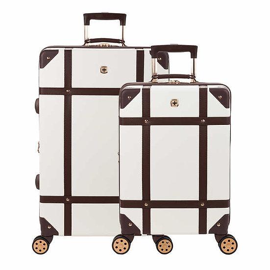 SwissGear 2-Piece Hardside Trunk Luggage Set, SA7739 Swiss Coffee