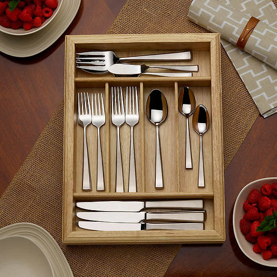 Mikasa Essex Satin 65-Piece Stainless Steel Flatware Set with Wood Caddy