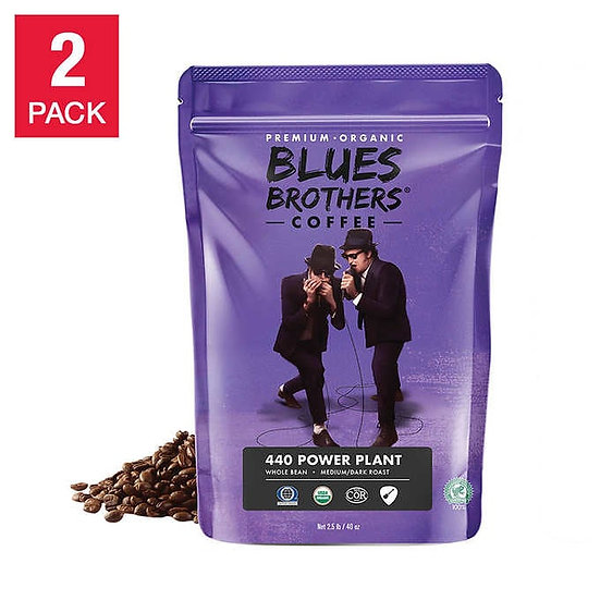 Blues Brothers 440 Power Plant Organic Whole Bean Coffee 40 oz, 2-pack