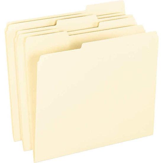 Pendaflex Anti Mold File Folder 1/3 Tab, Letter, Manila, 100-Count