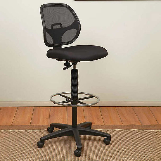 Office Star Deluxe Mesh Back Drafting Chair with Adjustable Footring