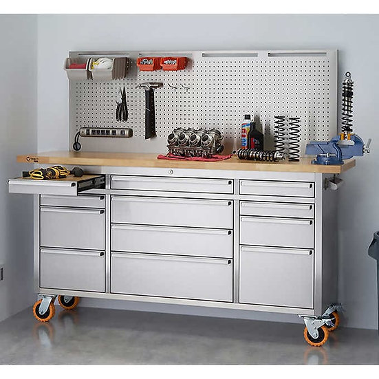 "TRINITY PRO 72"" Stainless Steel Workbench With Pegboard"