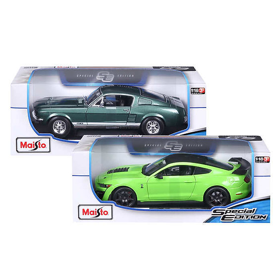 Maisto 1:18 Die Cast Vehicle 2-Pk, 1967 Mustang GTA Fastback & 2020 Shelby GT500