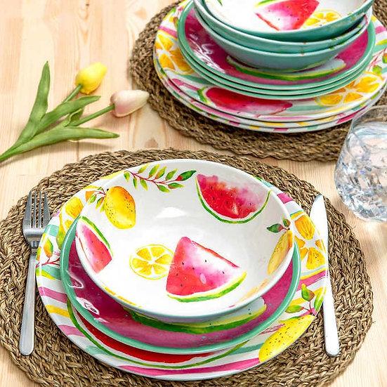 Zak! Designs Melamine 12-piece Dinnerware Set, Bright Fruits