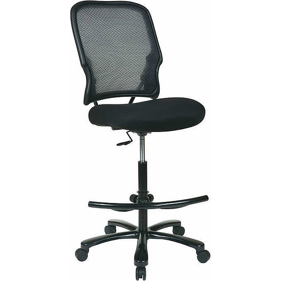 Office Star Big & Tall Double Air Grid Back Drafting Chair with Black Mesh Seat