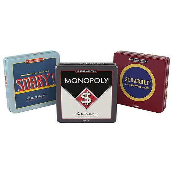 Monopoly, Scrabble and Sorry! - Nostalgia Tin Game 3-pack