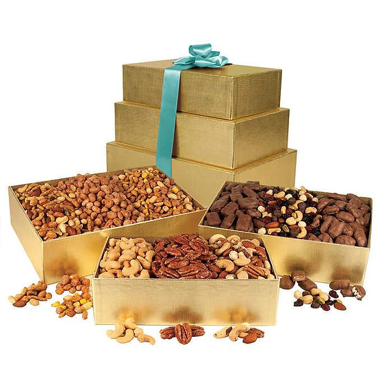 3 Tier Gold Gift Boxes filled with an assortment of Nuts and Chocolate