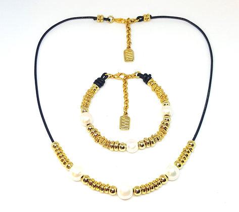 Conjunto perlas oro