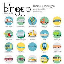 voertuigen bingo kaart voor in de auto