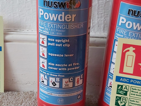Use of dry powder fire extinguishers indoors.