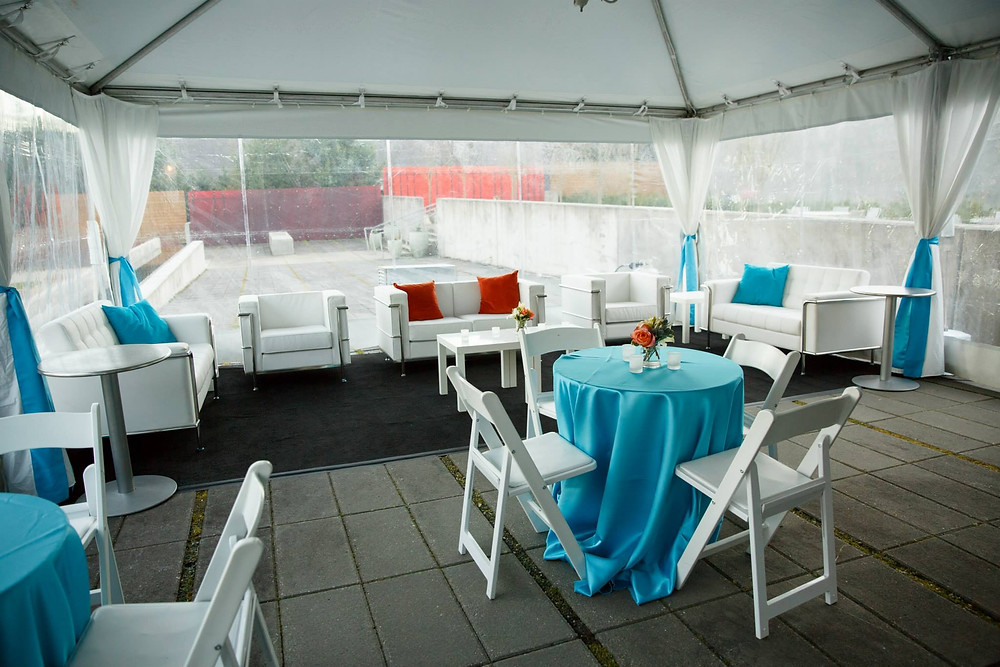 wedding tent with seating lounge