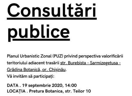 Consultații Publice pe Planul Urbanistic Zonal din zona str. Burebista - Sarmizegetusa - G. Botanică