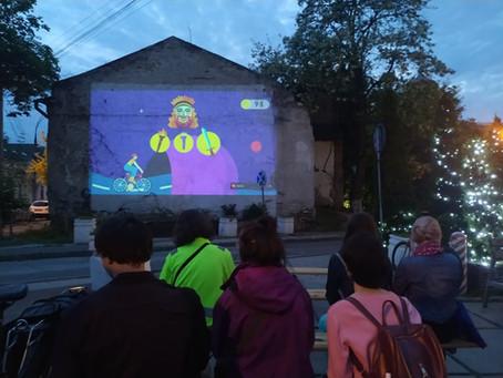Фото/Анимации «Велобог» были показаны на большом экране во время мероприятия Reclaim The Streets!