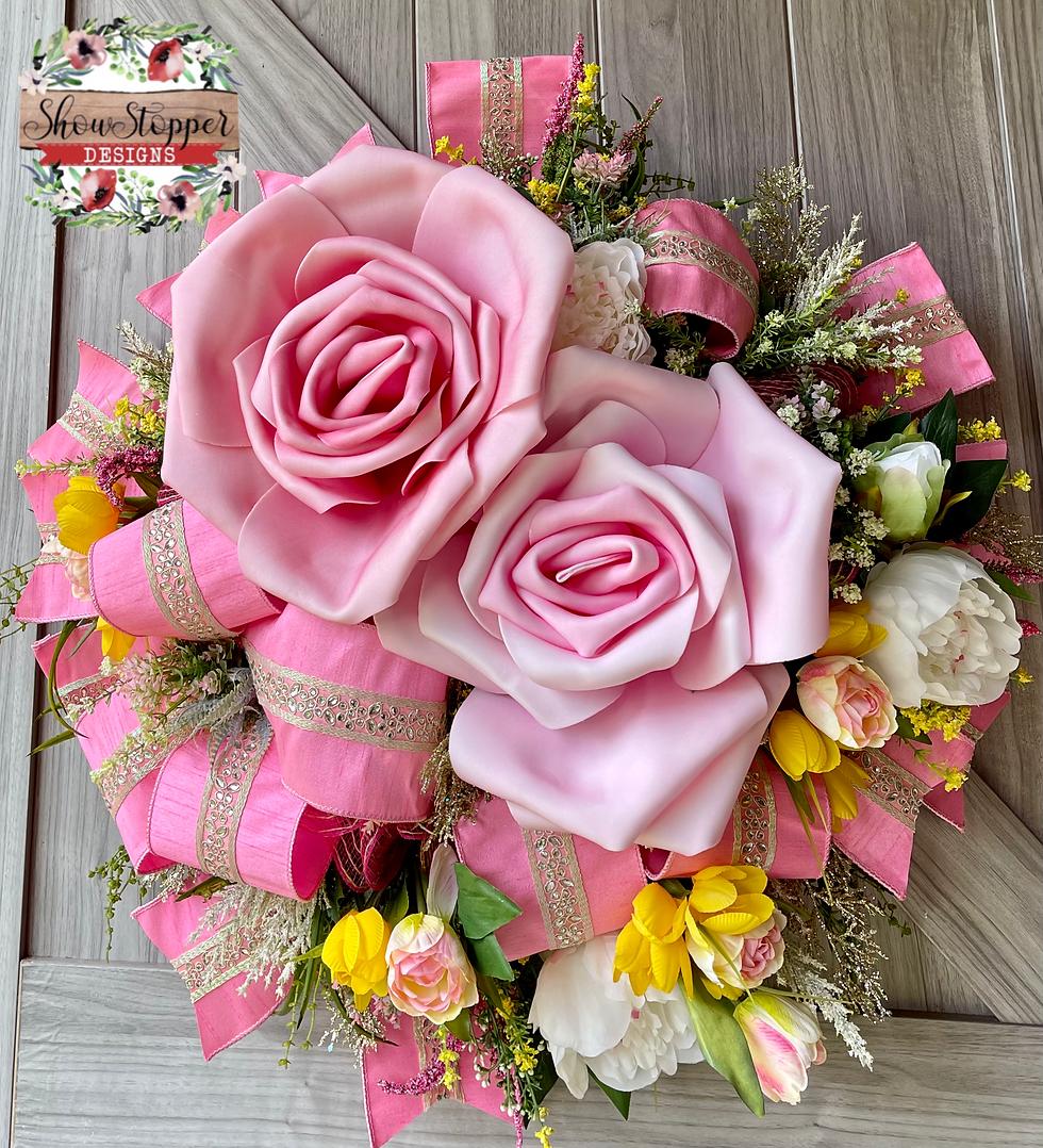 Pink Rose Door Wreath