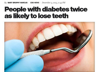 People with Diabetes twice as likely to lose teeth.