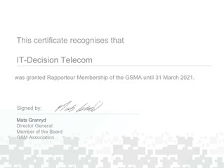 IT-Decision Telecom was granted Rapporteur Membership of the GSMA!