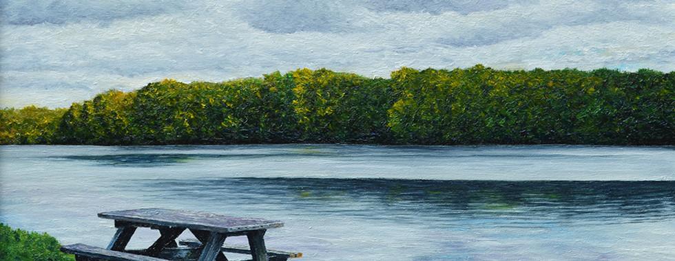 Picnic Table at Lake Nockamixon