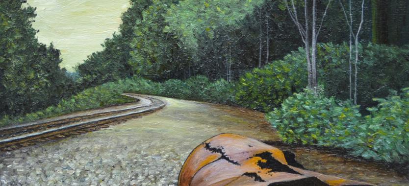 Trash Drum by the Railroad Tracks