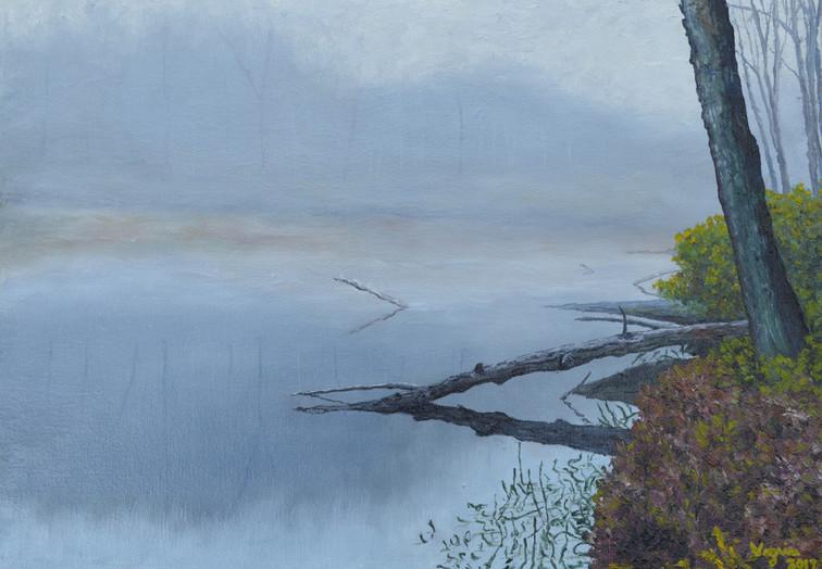 Mountain Pond in Morning Fog