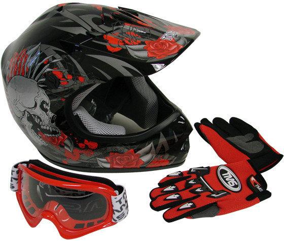 Black & Red Helmet, Goggles, Gloves Combo