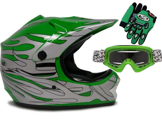 Green Helmet, Glove, Goggles Combo