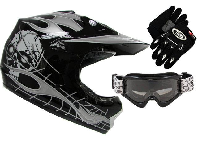 Black Helmet, Goggles, Glove Combo
