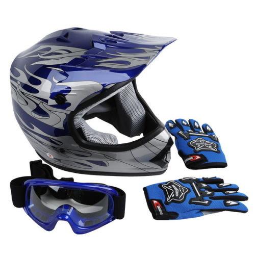 Blue Helmet, Goggles, Gloves Combo