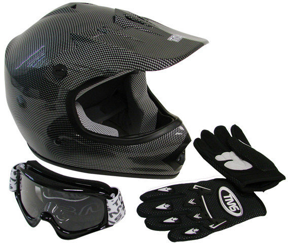 Black Helmet, Goggles, Gloves Combo