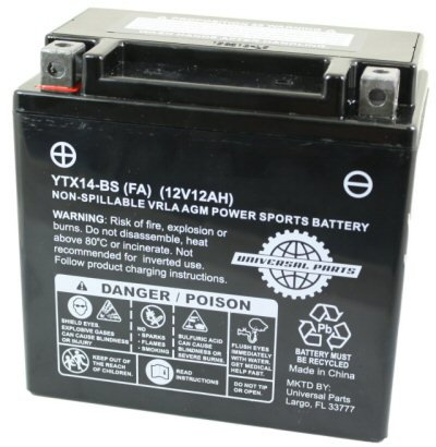 12V 12AH Battery YTX14-BS - Factory Activated
