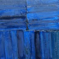 Monochrome en bleu, huile sur toile 80X80