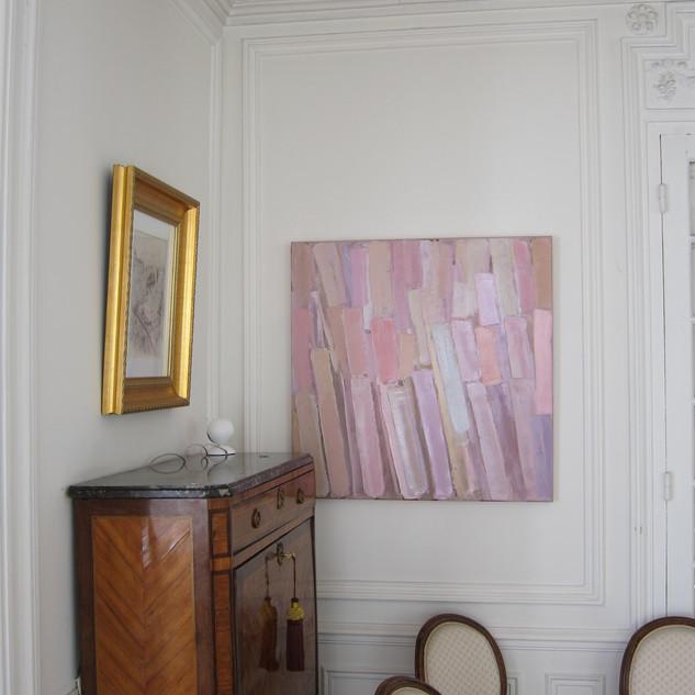 Les Flamants Roses, huile sur toile, 90X90