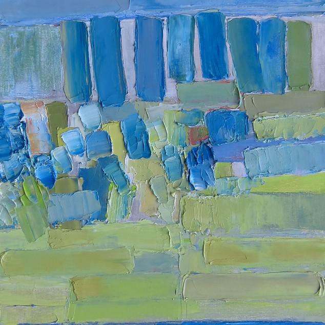 Un Eté en bleu, huile sur toile, 80X120