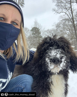 Bow Creek Brittany Doodles beside a woman wearing a blue face mask