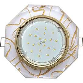 Встраиваемый светильник GX53 H4 5312 8-угольник с прямыми гранями, металл-стекло