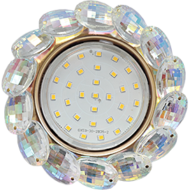 Встраиваемый светильник GX53 H4 5342 круг с большими хрусталиками, стекло